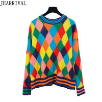 Women Oversized Knitted Sweater 2017 New Autumn Winter Long Sleeve Rainbow Plaid Pullovers Knitwear Jumper Tops Pull Femme