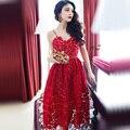 2017 Primavera Verano Mujeres de La Moda Sexy Vestido Rojo Vestido de Fiesta de Encaje Blanco de La Vendimia Vestidos de Fiesta vestido de Tirantes Más El Tamaño