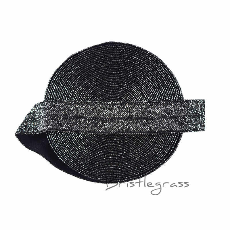 "BRISTLEGRASS 5 Sân 5/8 ""1.5 cm Bạc Long Lanh FOE Fold Over Su Spandex Satin Trẻ Em Hairband Headband Ren Trims TỰ LÀM May"