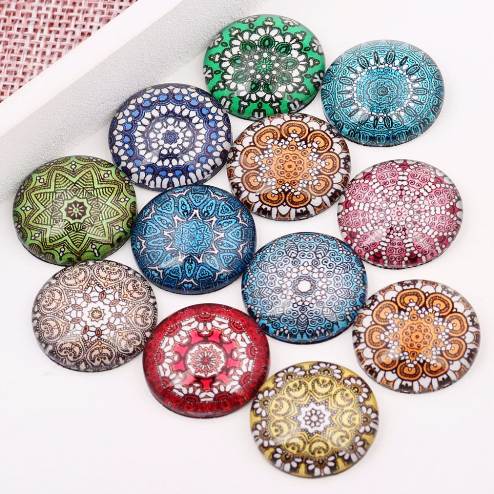 Onwear Handmade Round Dome Mixed Beautiful Pattern Glass Cabochon 10mm 12mm 14mm 16mm 18mm 20mm 25mm for Earring Bracelets