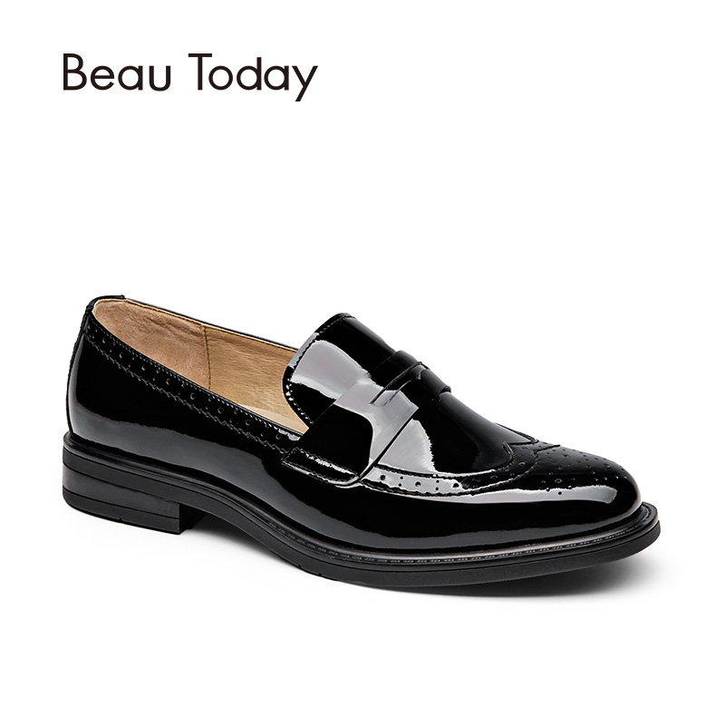 BeauToday Penny Loafers Women Genuine Cow Leather Round Toe Wingtip Glazed Shoes Patent Leather Brogue Flats Handmade 27039