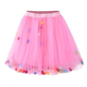 Юбки-пачки для маленьких девочек, трехслойная мягкая Тюлевая пышная бальная юбка с помпоном, Детская облегающая юбочка для девочек, одежда ...