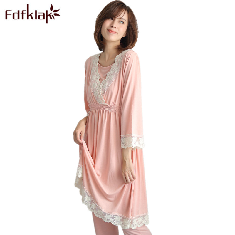 Fdfklak Maternity Nightwear 2018 Spring Autumn Lace Sleepwear For Pregnant Nurse Pajama Set Pyjamas Women Nursing Pajamas F55 maternity pajama hot robes autumn winter pregnant woman unisex home coral fleece pajama comfortable solid pockets women bathrobe