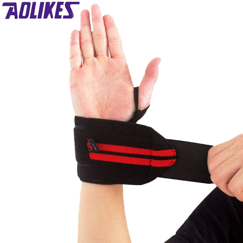 AOLIKES 1 Pair Weightlifting Wristband Sport Training Hand Bands Wrist Support Strap Wraps Bandages For Powerlifting Gym Fitness