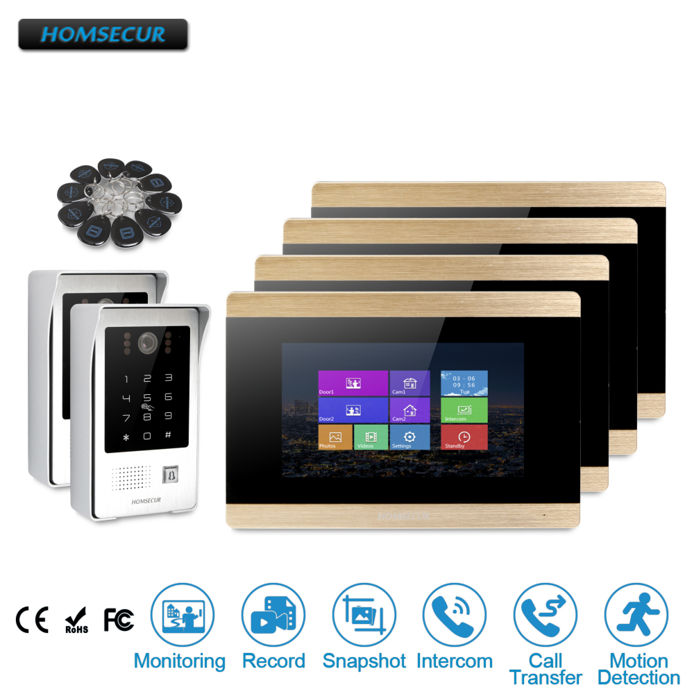 HOMSECUR 7 Wired Video&Audio Smart Doorbell Door Intercom+Touch Screen Monitor for Apartment  BC091 + BM715-GHOMSECUR 7 Wired Video&Audio Smart Doorbell Door Intercom+Touch Screen Monitor for Apartment  BC091 + BM715-G