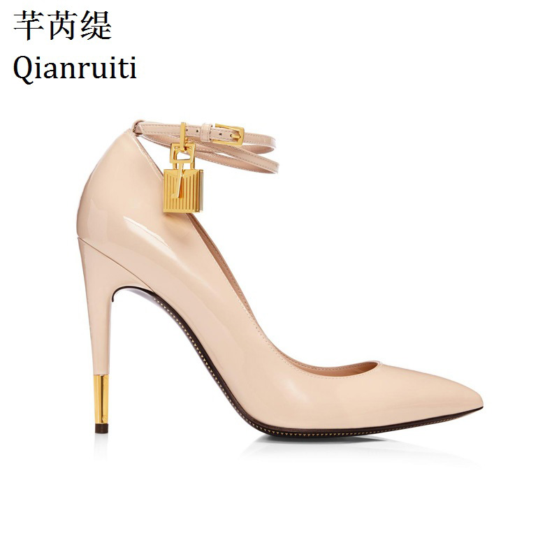 Qianruiti Nude White Patent Leather High Heels Shoes Metal Padlock Women Dress Shoes Sexy Pointed Toe Buckle Strap Women Pumps hanbaidi sexy patent leather women pumps luxury rhinestone pointed toe buckle strap women high heel sansals sandalias mujer 2018