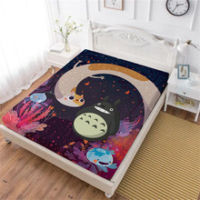 Cartoon Totoro Bed Sheet Colorful Underwater World Print Fitted Kids Bedding King Queen Deep Pocket Home Textile D35