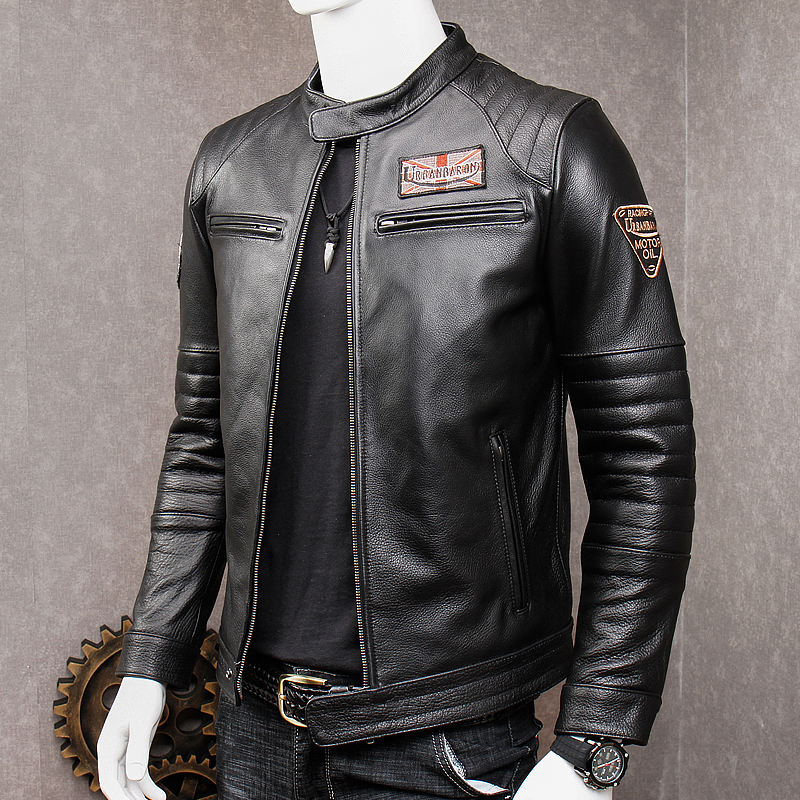 Image 4 - HARLEY DAMSON Vintage Grey Men Slim Fit Biker's Leather Jacket Stand Collar Plus Size XXXXL Genuine Cowhide Spring Leather Coat-in Genuine Leather Coats from Men's Clothing