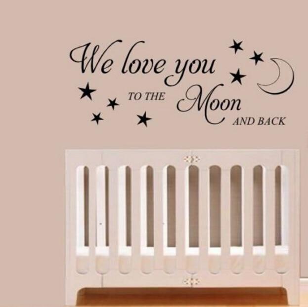 HWHD Milujeme tě na Měsíc a zpět Mateřská samolepka Nástěnná nabídka Obtisky a samolepky Doprava zdarma Q053