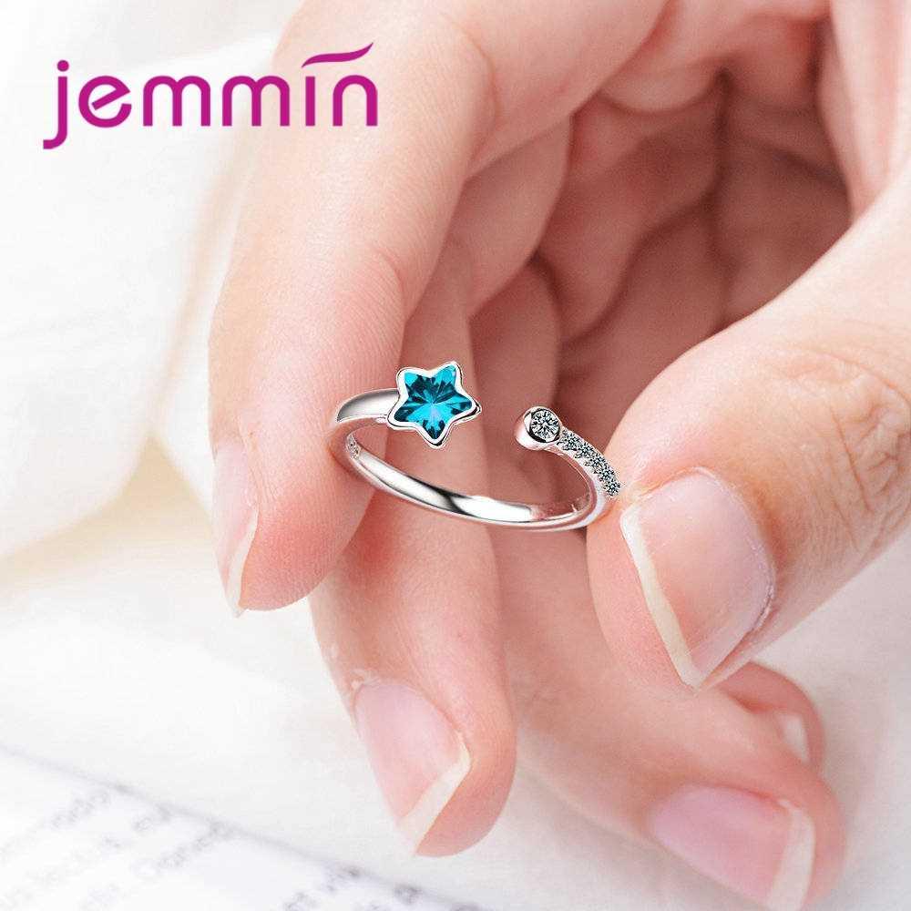 Nuevo anillo de tamaño ajustable de apertura dulce marca genuina 925 Plata de Ley azul estrella Cristal de moda de alta calidad