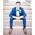 Бесплатная Доставка Из Двух Частей Синий Man Костюмы Groomsmen Смокинги Зубчатый Нагрудные Свадебные Костюмы Для Мужчин Мужской костюм костюм мужчины