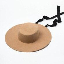 01906 HH8142 jesienno zimowa płaska czapka jazzowa wełniany, długi czarna wstążka czapka fedoras mężczyźni kobiety rozrywka panama kapelusz