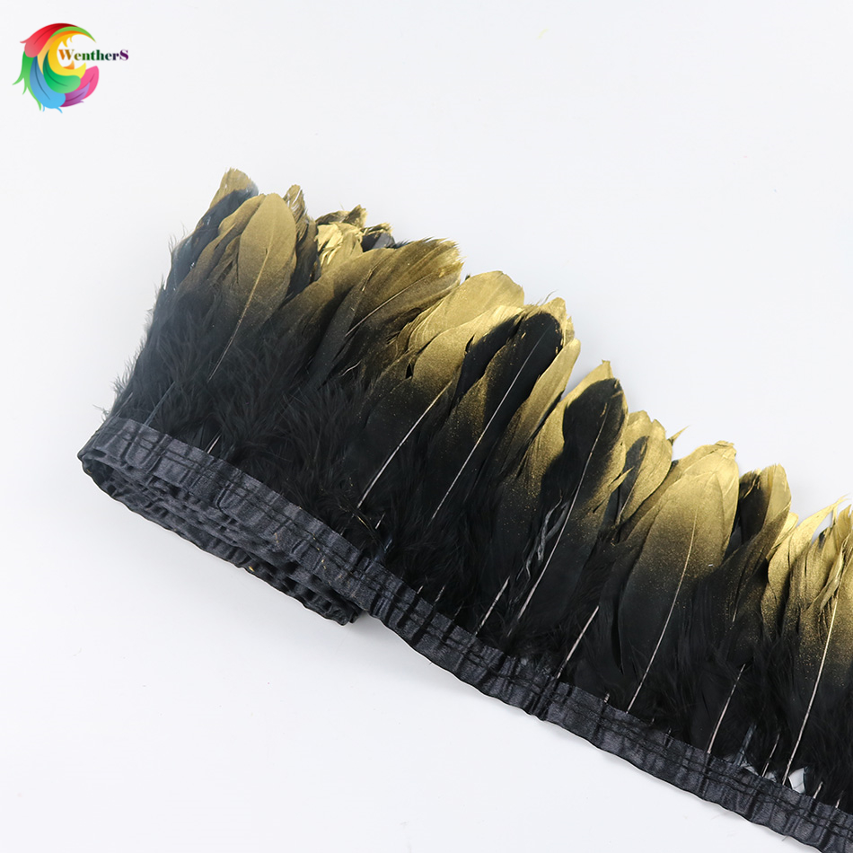 Wholesale Dipped gold Black Goose feather trims Height 15-20cm feather ribbon for Dress  ...