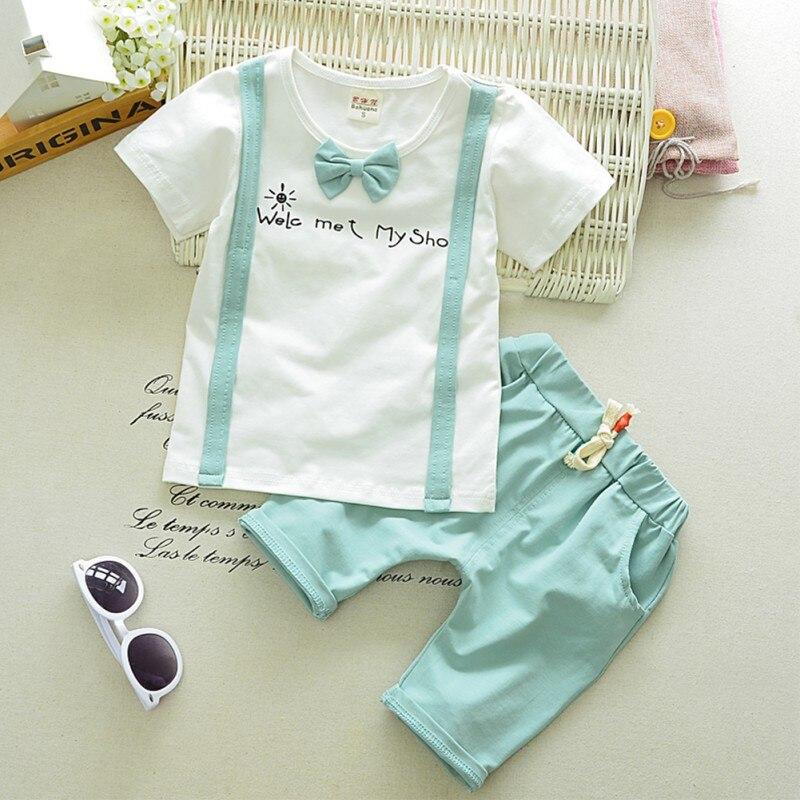 Summer Baby Clothes Set Short Sleeve T-shirt Tops With Tie + Plaid Pants Suit Kids Boy Costume 1-4Y sonex потолочный светильник sonex provence brown 203