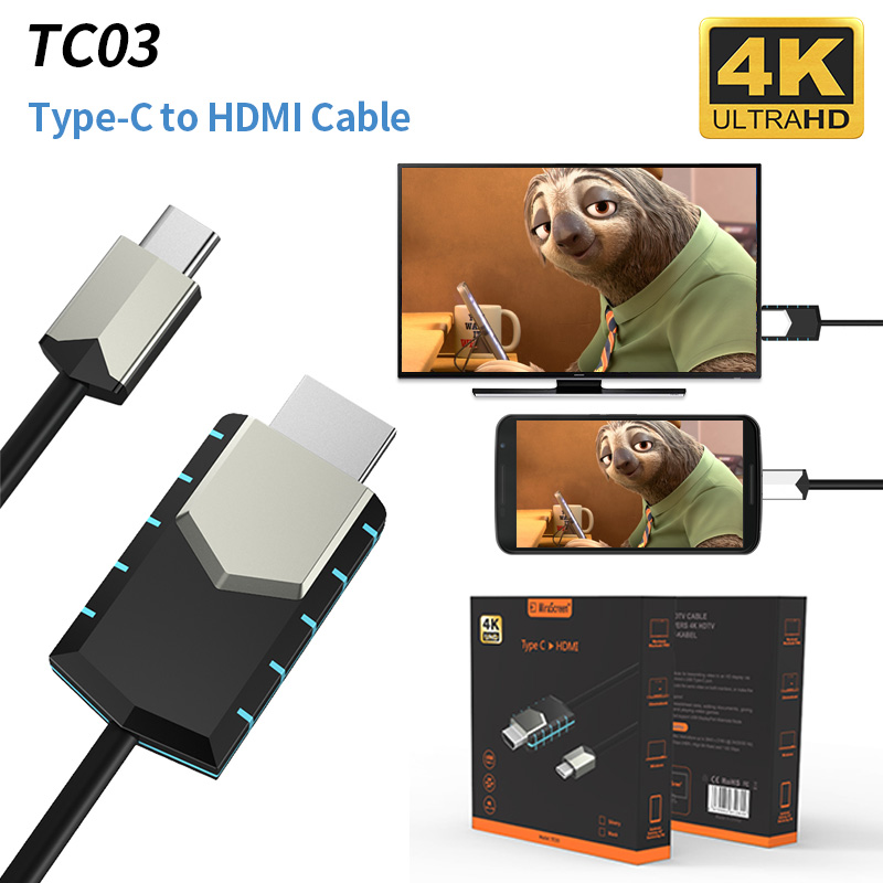 Mirscreen New Cable TC03 Type-C To 4K HDMI Cable 1080P Full-HD Instant Projection Connect Cell Phone To TV/GPS Navigation(China)