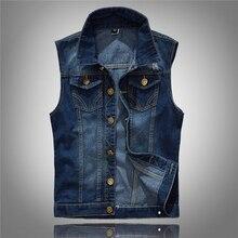 Men Denim Vest Men's Jacket Sleeveless Casual Waistcoat Men's Jean Coat Ripped Slim Fit Male Jacket Cowboy Vest цена