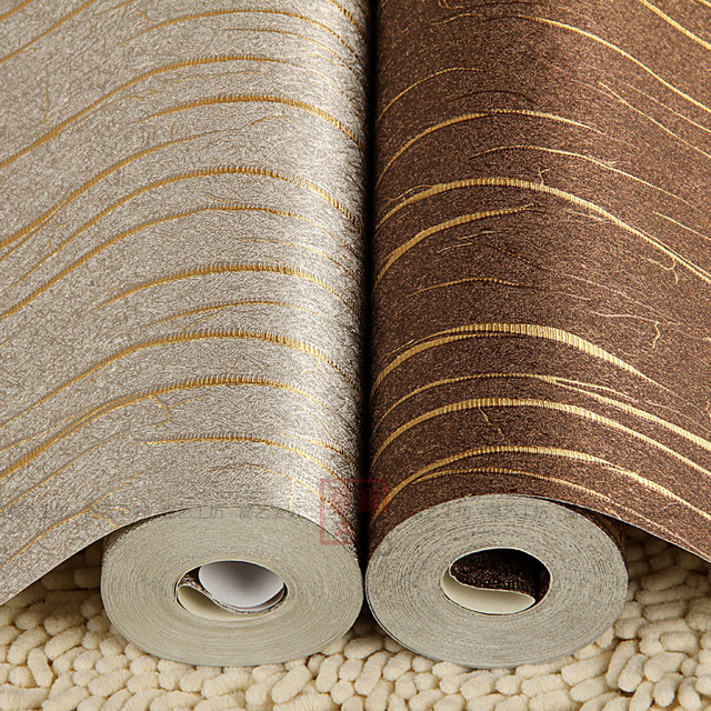 Gold Striped Silver Foil Pvc Wall Paper Backdrop Brown Silver Decorative  Vinyl Covering Wallpaper Roll For