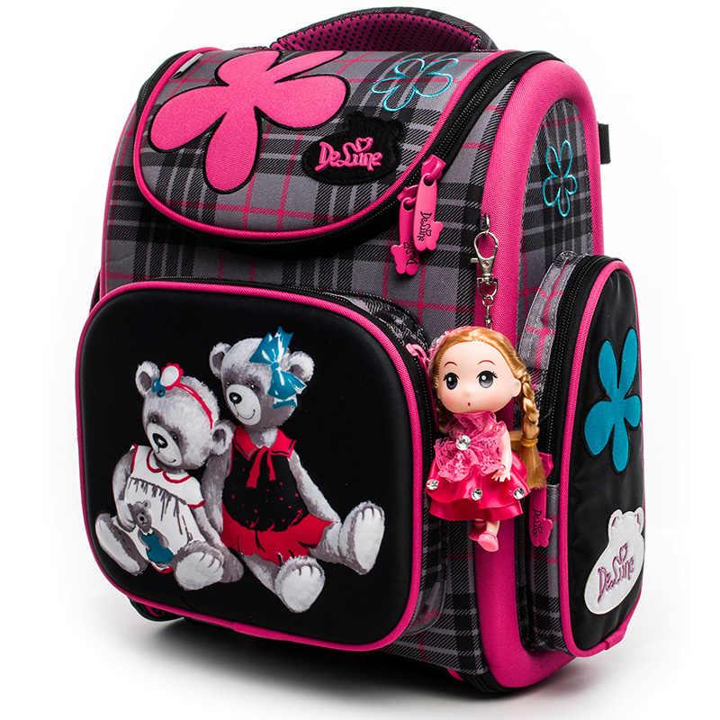 1a97f923335b Delune 2018 школьный рюкзак для девочек мальчиков Медведь автомобиль шаблон школьная  сумка Детские ортопедические рюкзаки mochila