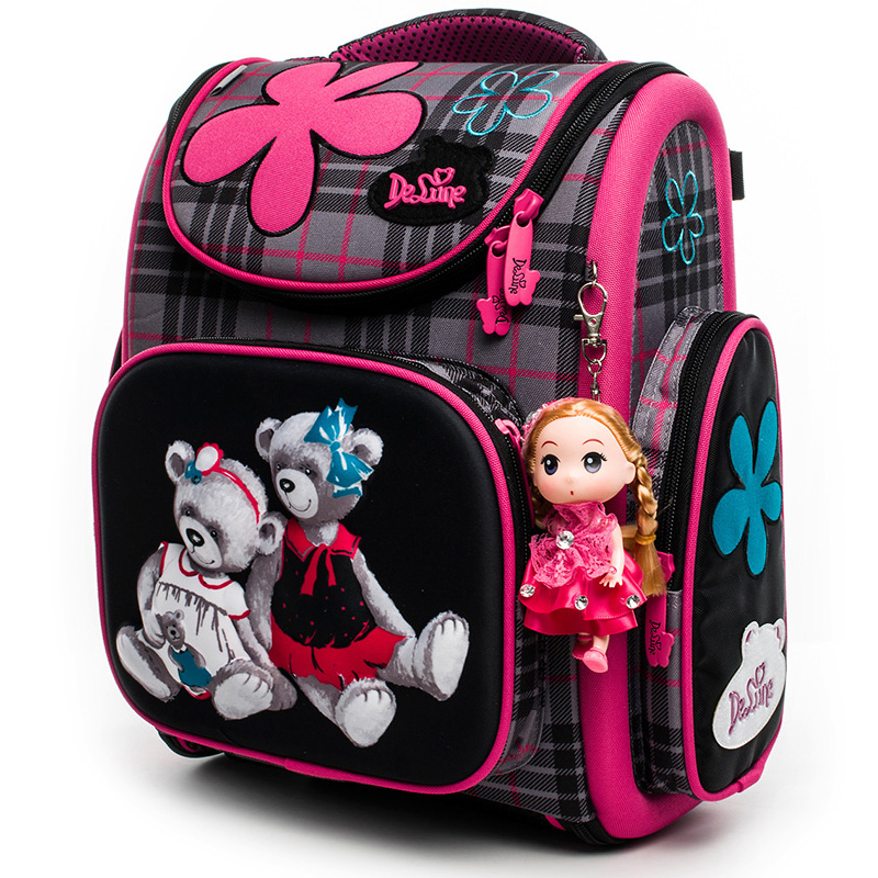 2018 Delune School Bags for Boys Girls Gift Bear Car Print Orthopedic Backpack Children Primary Student Backpacks Kids Schoolbag delune new european children school bag for girls boys backpack cartoon mochila infantil large capacity orthopedic schoolbag