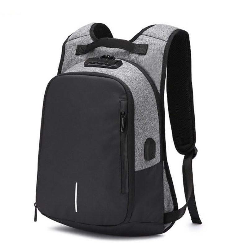 OZUKO toile sac à dos hommes USB Charge mot de passe serrure Anti-vol en trois dimensions sac à dos Style européen et américain sac de voyage - 3