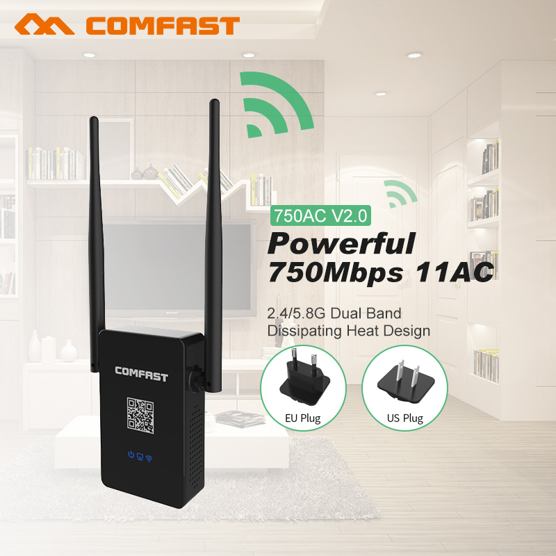 Dual Band 2.4+5.8G Wi fi Repeater 750M Wireless N Router Wifi Repeater Long Range Extender Booster Wifi Signal Roteador Amplifie comfast cf wr750v2 dual band 750mbps wifi repeater roteador 802 11ac wireless router 2 4 5 8ghz long rang wi fi signal amplifier