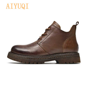 AIYUQI Ankle boots women 2020 new leather genuine Retro lace up safety casual martn