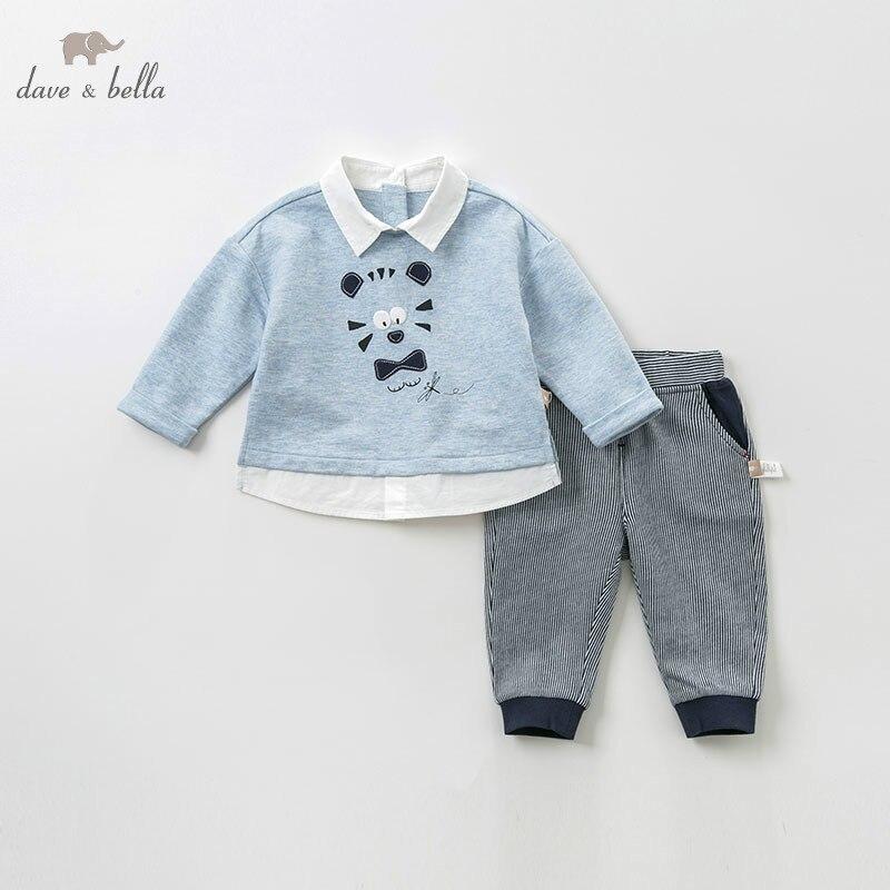 DBJ9900 dave bella spring baby boys fashion print sets kids long sleeve clothing sets children 2 pcs suit