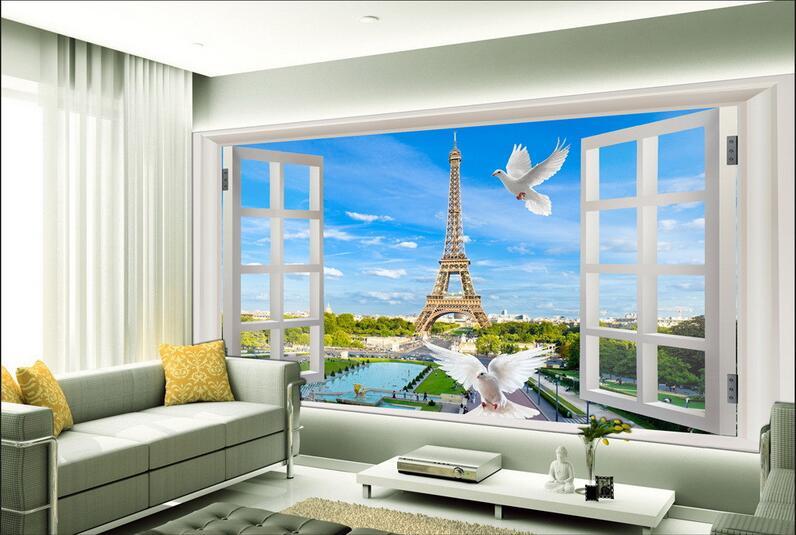 Custom Photo 3d Wallpaper Non-woven Mural Picture Wall Sticker 3 D Window Of Eiffel Tower Painting 3d Wall Room Murals Wallpaper