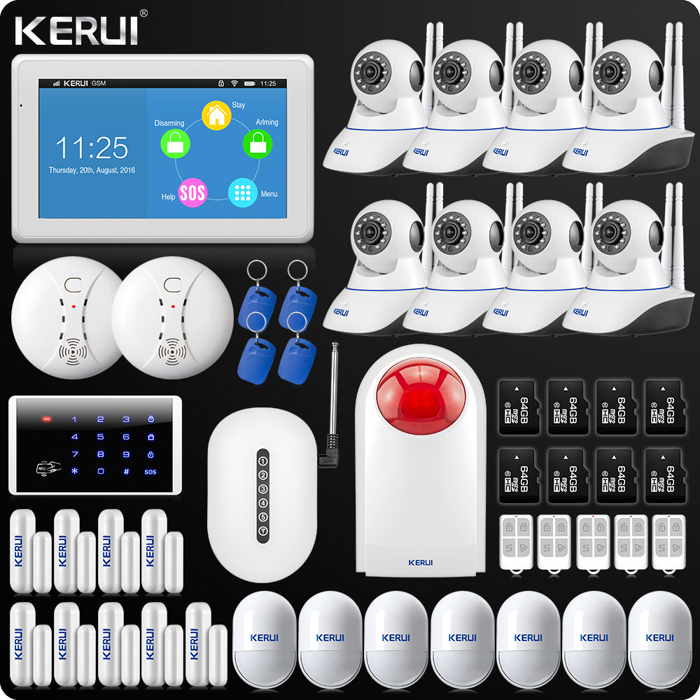 все цены на Upgraded KERUI Touch-Screen 7 Inch TFT Color Display WIFI GSM Alarm System Home Alarm Security Dual Antenna Wifi IP Camera DIY