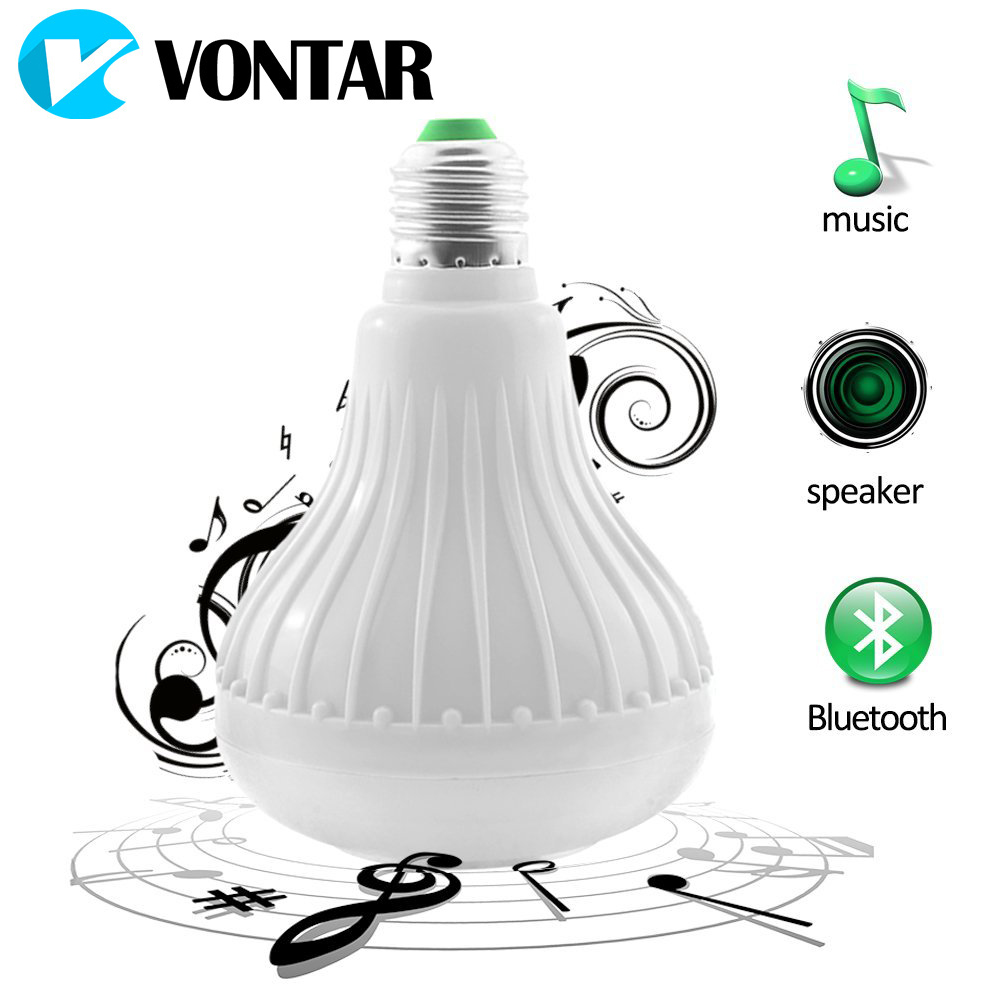 VONTAR RGB Led Bulb 110V 220V Bluetooth Speaker Bulb Music Playing Dimmable 12W E27 LED Lamp Light with 24 Keys Remote Control