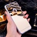 Розовое Золото Роскошные Bling Зеркало Case Для Iphone 6 6 S Plus 7 5 5S SE Ясно ТПУ Край Ultra Slim Гибкая Мягкая Обложка Для Iphone6 6 S