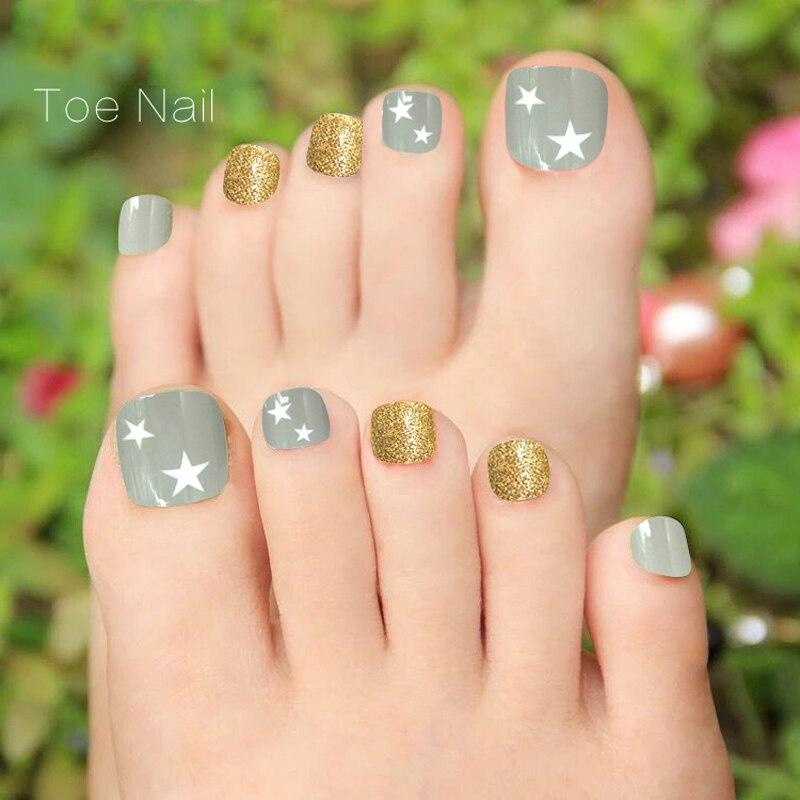 set Full Cover False Toe Nail Foot Tips Art Decor with Glue