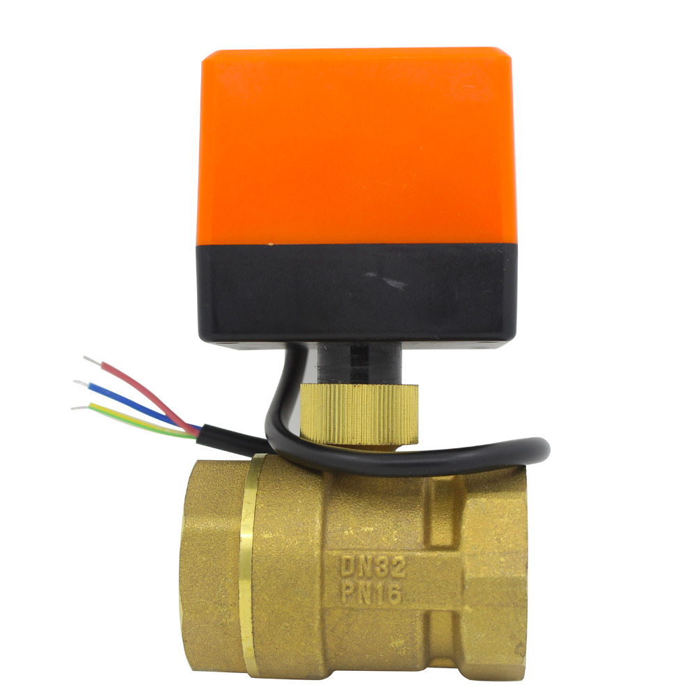 DN32 AC220v DC24v DC12v Electric Motorized Brass Ball Valve With Electric Drive Actuator 2 Way 1-1/4 Inch Electrovalve CN01 CN02