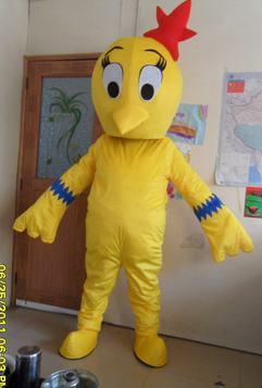 2019 Mode Gelb Huhn Maskottchen Kostüme Cock Rooster Hen Cartoon Bekleidung Werbung Kostüm Halloween Partei-abendkleid Mascotte Erwachsene