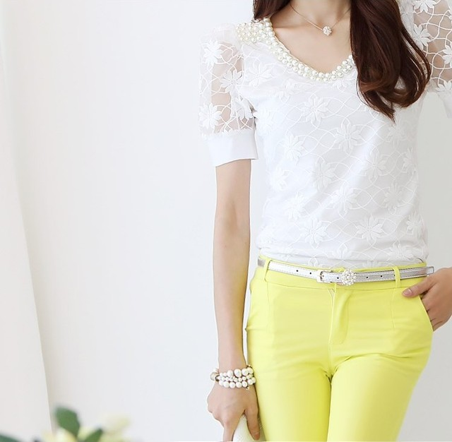 summer Women lace V-neck short-sleeved shirt Slim beaded chiffon shirt bottoming casual blouse 5