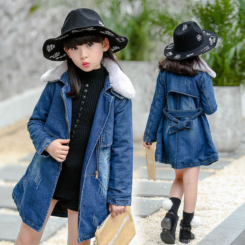 2016 Winter Kids Girls Denim Jacket Children Plus Thick Velvet Jacket Outerwear Long Section Warm Fur Coat For Cold Winter Coat winter girl jacket children parka winter coat duck long thick big fur hooded kids winter jacket girls outerwear for cold 30 c