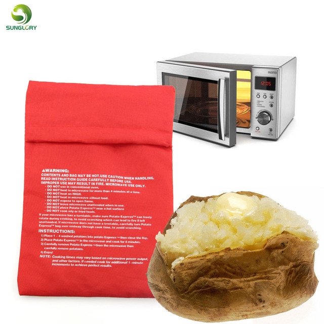 Red Microwave Potato Bag Baking Cooking Washable Cooker Baked Potatoes Rice Pocket Oven
