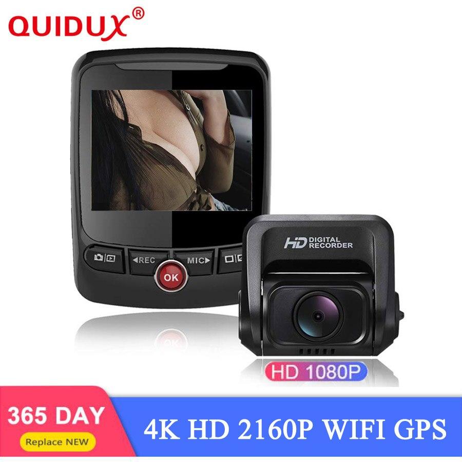 Caméra de tableau de bord de voiture QUIDUX 2160 P 60fps 4 K Ultra HD double lentille DVR avec capteur 1080 P HDR Sony caméra arrière Vision nocturne GPS auto Dashcam