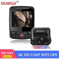QUIDUX 2160P 60fps Car Dash Cam 4K Ultra HD Dual Lens DVR with 1080P HDR Sony Sensor Rear Camera Night Vision GPS auto Dashcam