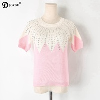 JOYDU 2019 New Sweet Lolita Korean Summer T shirt Runway harajuku T shirts Women Pink Luxury Beading Pink Short Sleeve T shirt
