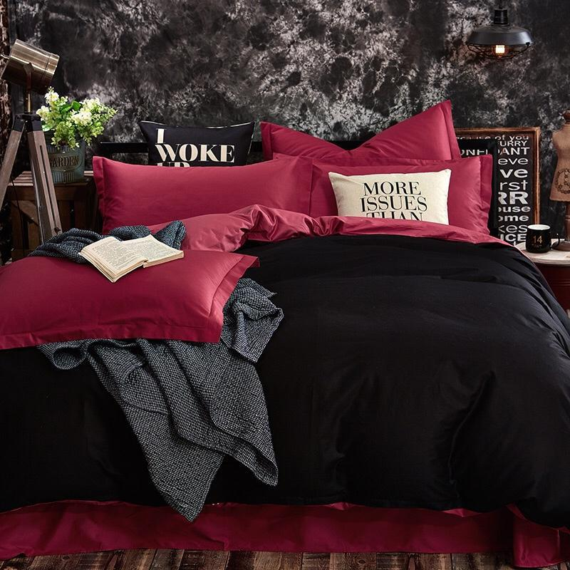 us 13 56 40 off red and black bedding set double match color matching bed set cotton bed sheet twin queen king size duvet cover set bed