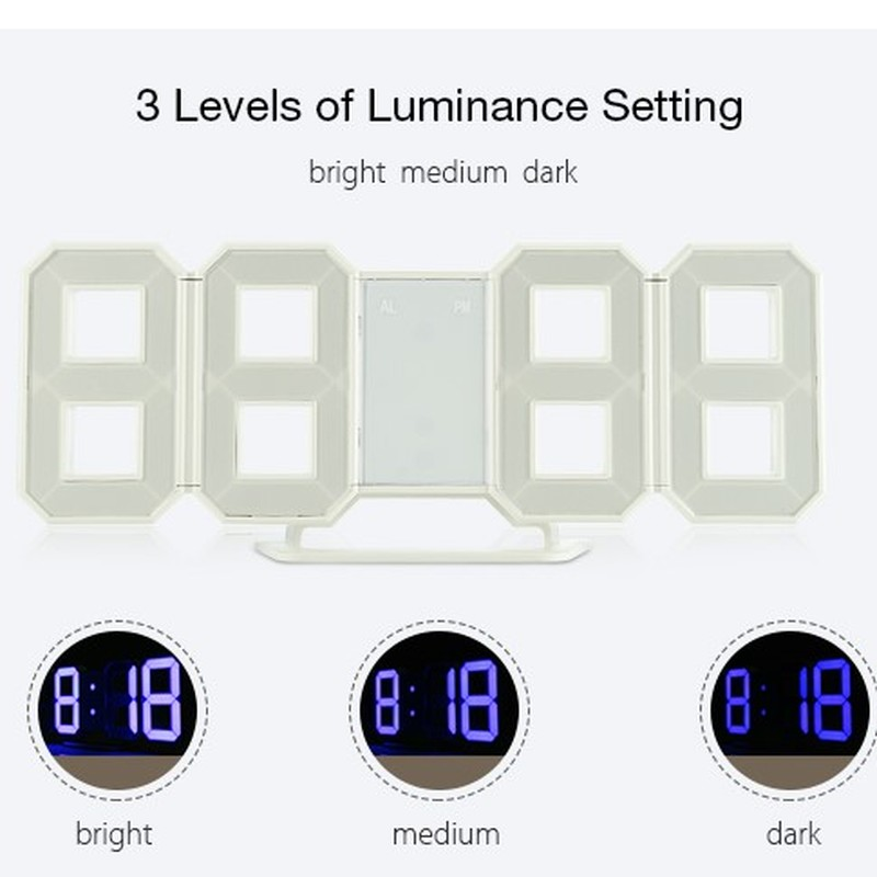 Simple and Creative Style Fashion Modern Can Be Placed on The Desktop Clock Wall 3D Digital LED12/24 Hours Display Alarm Clock