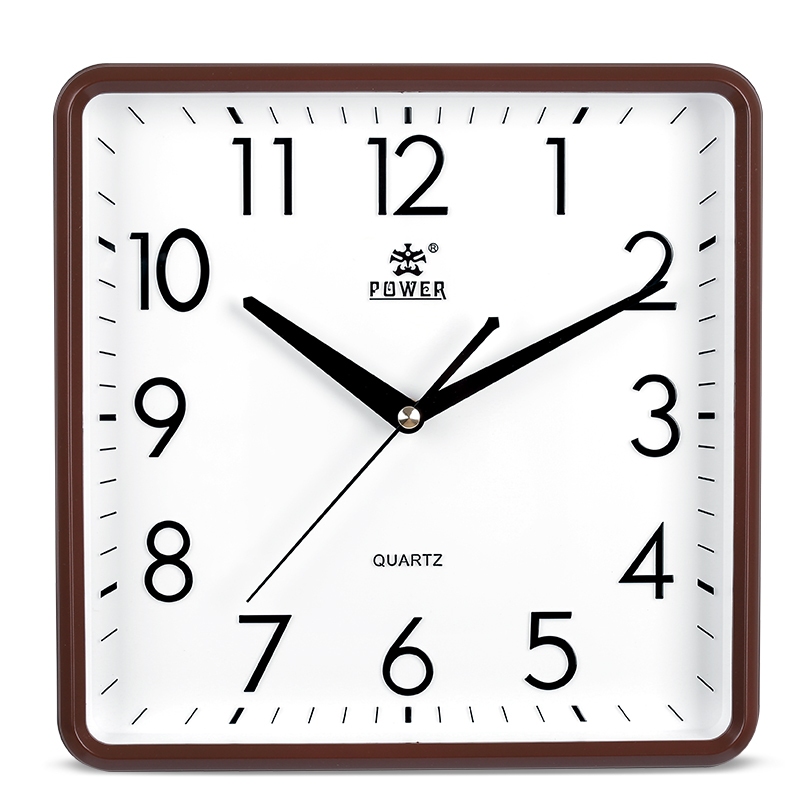 Puissance 10 pouces moderne Non coutil silencieux Quartz analogique numérique carré chambre cuisine horloge murale 3D logo et numéros décor à la maison