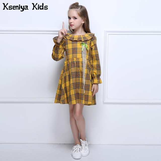 eb2686e71669 Kseniya Kids 2017 Orange Girl Autumn Winter Dress Baby Girls Long Sleeve  Dresses Outerwears O-