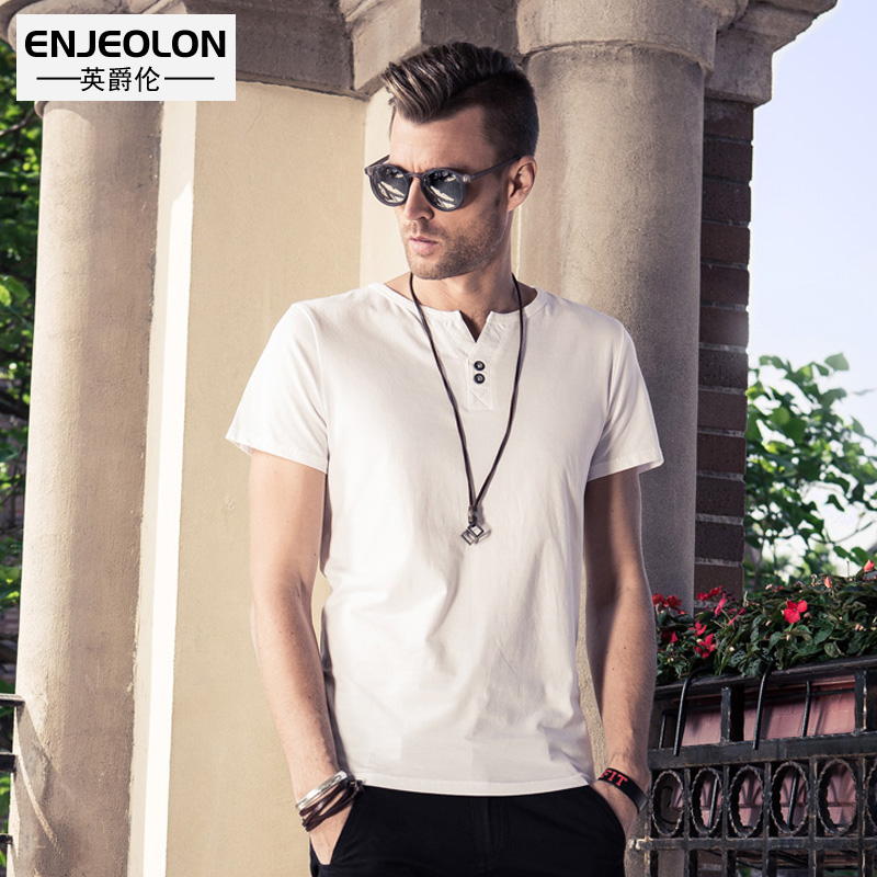 Enjeolon brand quality 6 color solid t shirt men,cotton V-neck clothing base fit casual men t-shirts plus size S 4XL T1530