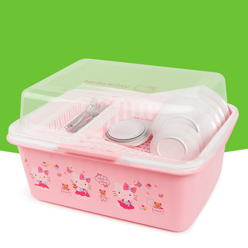 Hello Kitty plat séchage Rack Pan organisateur cuisine évier organisateur bol stockage avec couvercle évier séchage Rack vaisselle assiettes stockage