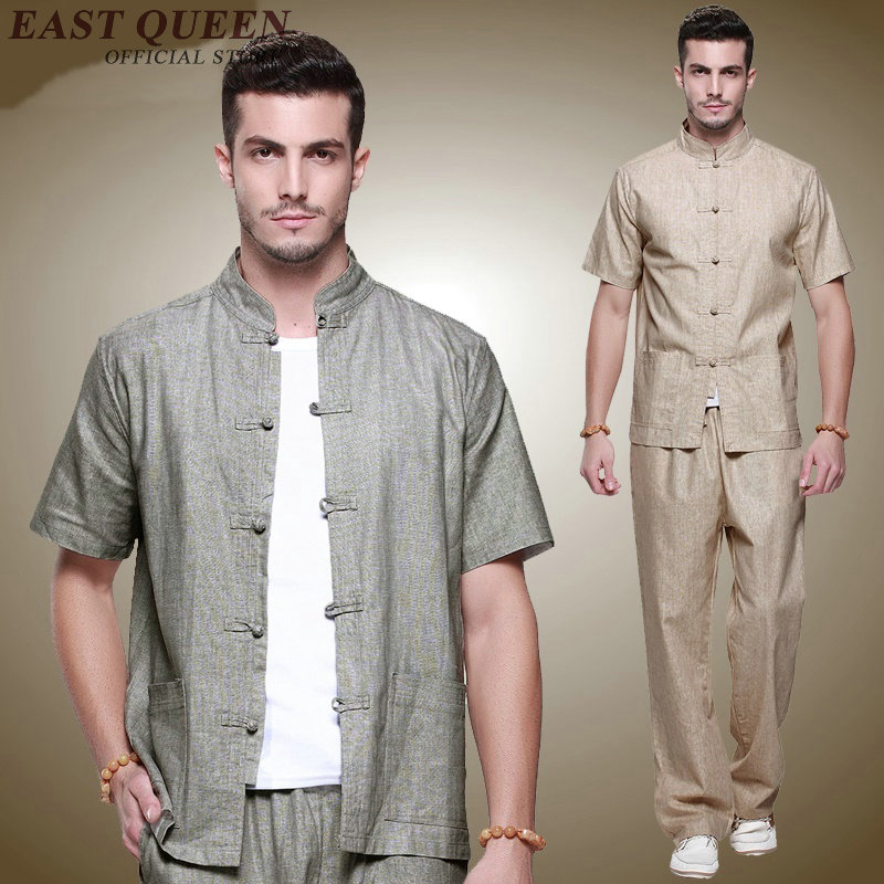 Kung fu outfit Gray National Chinese Men Tai Chi Uniform Linen Mandarin Collar Set Clothing S