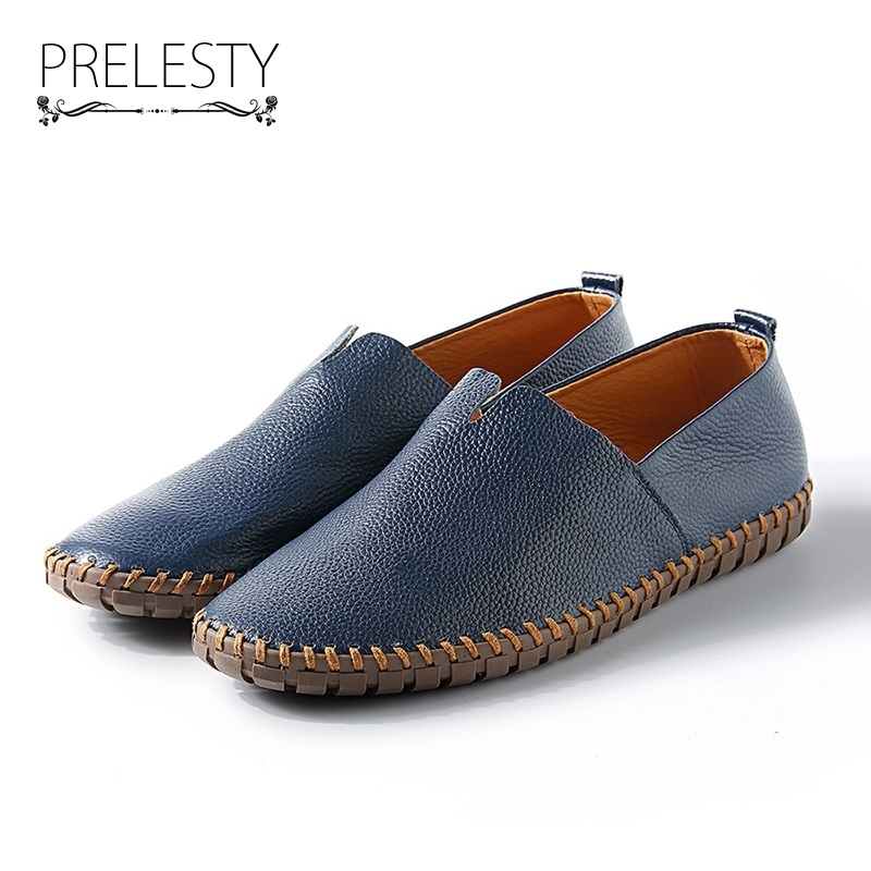 Prelesty Big Size 38-50 Spring Autumn Men Luxury Brand Driving Shoes Breathable Genuine Leather Flats Loafers Casual Slip On