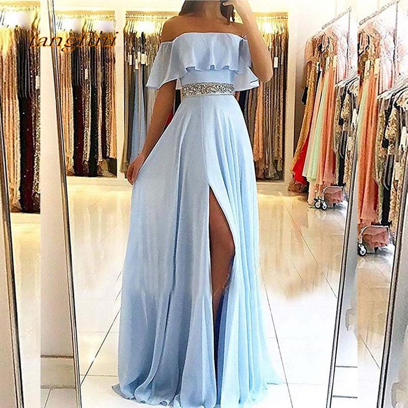 Light Blue Long   Evening     Dresses   A Line Chiffon Crytsal Sashes Women Party Prom Gowns Formal   Evening   2019 On Sale abendkleider
