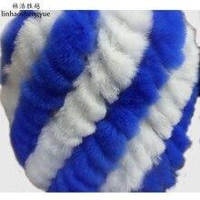 Linhaoshengyue Colour the rabbit Pineapple fur hat freeshipping winter warm real fur rabbit fur cap